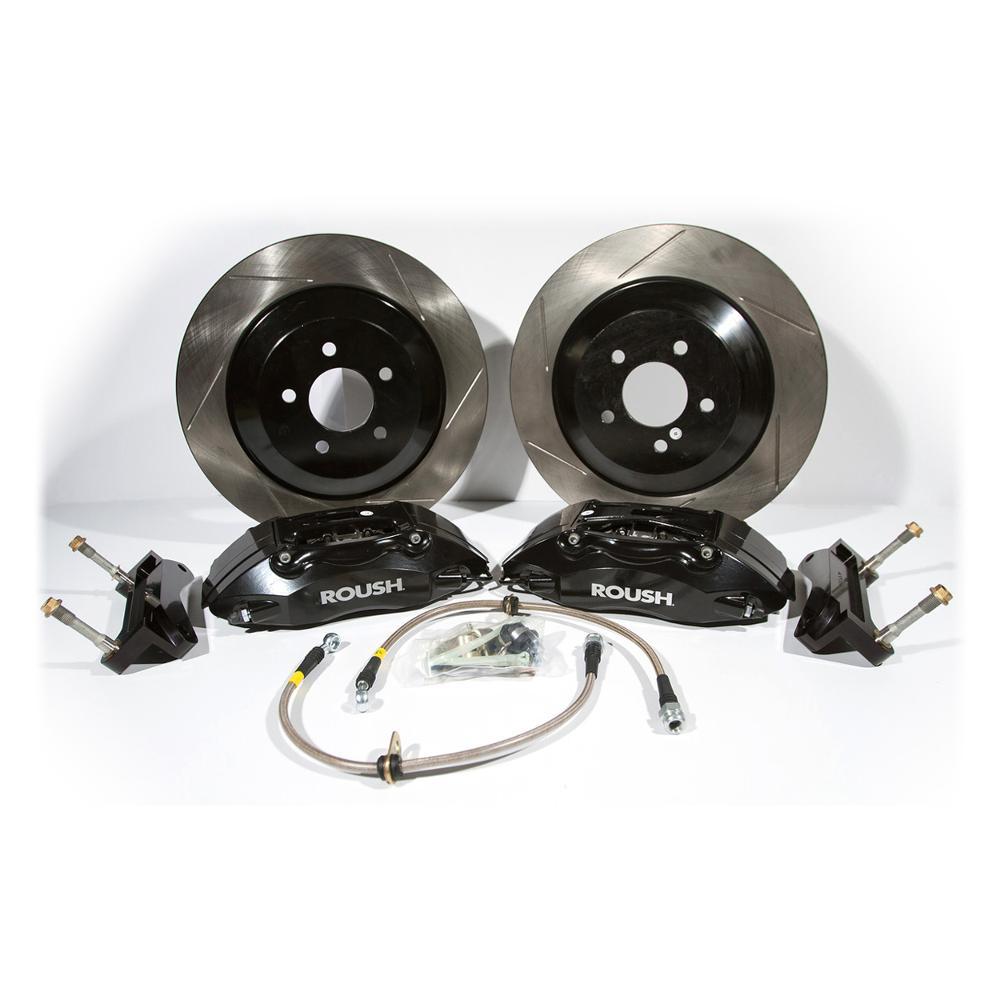 Brakes 2005 - 2014 Mustang Black 4 Piston Brake Kit w/ 1 pc Rotors Accessories