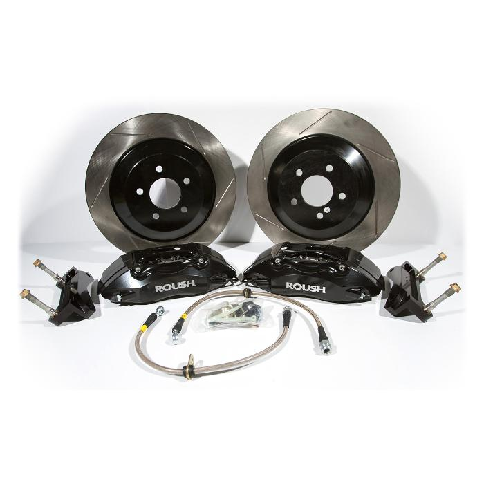 2005 - 2014 Mustang Black 4 Piston Brake Kit w/ 1 pc Rotors