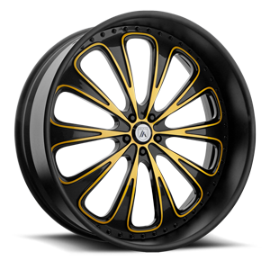 AF867 Gloss Black with Yellow Accents 5 lug