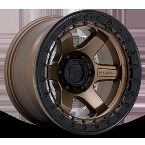 Fuel 1-Piece Wheels BLOCK BEADLOCK - D124 6 Matte Bronze with Black Ring
