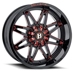 Ballistic Off Road 963 Gladiator 6 Gloss Black with Red Milling