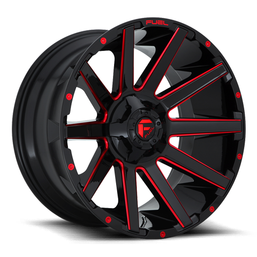 Fuel 1-Piece Wheels D643 CONTRA 6 Gloss Black w/ Candy Red