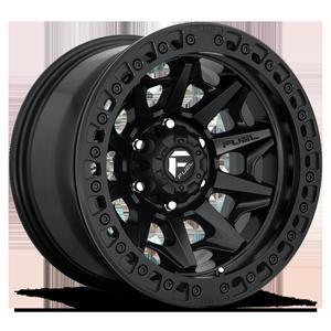 Fuel 1-Piece Wheels D114 COVERT - BEADLOCK 6 Matte Black w/ Matte Black Ring