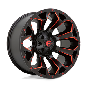 Fuel 1-Piece Wheels Assault - D787 5 Matte Black Milled with Red Tint