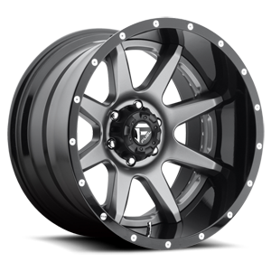 Rampage - D238 Anthracite Center and Gloss Black Lip 6 lug
