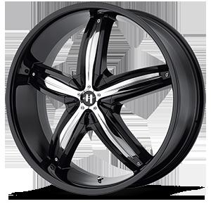 Helo Wheels HE844 5 Gloss Black w/ Chrome Accents