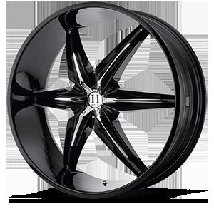 Helo Wheels HE866 5 Gloss Black w/ Chrome Accents