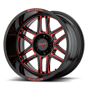 Moto Metal MO992 Folsom 6 Gloss Black Milled with Red Tint