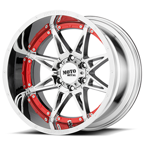 Moto Metal MO993 Hydra 6 Chrome with Red Inserts