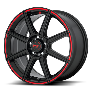 MR142-CS8 Satin Black with Red Pinstripe 5 lug