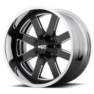 MO200 Gloss Black Milled Center w/ Chrome Lip 8 lug