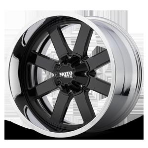 MO200 Gloss Black Center w/ Chrome Lip 8 lug