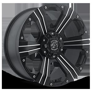 902 Flat Black Machined 6 lug