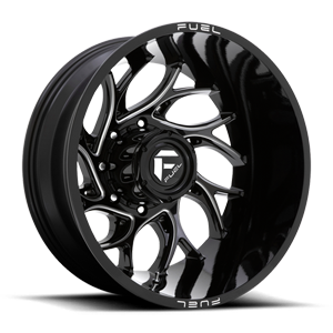 Fuel Dually Wheels D741 RUNNER - Dually Rear 8 Gloss Black Milled - 24x8.25 ET-176