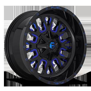 Fuel 1-Piece Wheels Stroke - D645 8 Gloss Black w/ Candy Blue