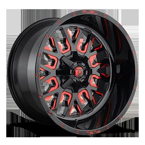 Fuel 1-Piece Wheels D612 STROKE 5 Gloss Black w/ Candy Red