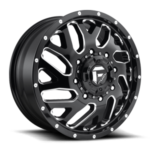 Fuel Dually Wheels D581 TRITON - Dually Front 8 Gloss Black & Milled