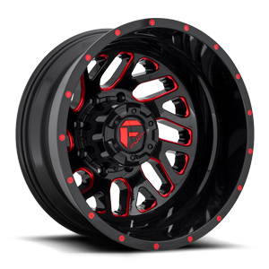 Fuel Dually Wheels D656 TRITOM - Dually Rear 8 Gloss Black w/ Candy Red