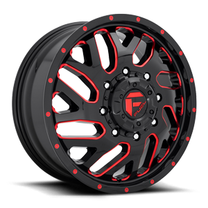 Fuel Dually Wheels Triton Dually Front - D656 8 Gloss Black w/ Candy Red