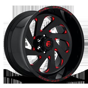 Fuel 1-Piece Wheels Vortex - D638 6 Gloss Black w/ Candy Red