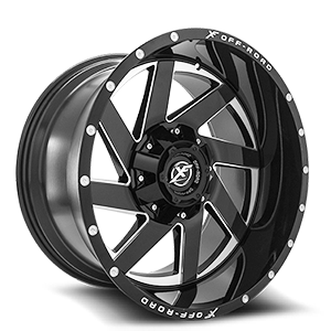 XF-205 Black Milled Complete Window - 22x12 6 lug