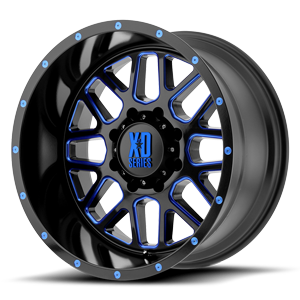 XD Wheels XD820 Grenade 8 Satin Black Milled w/ Blue Tinted Clear Coat