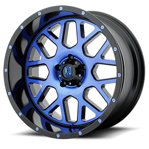 XD Wheels XD820 Grenade 5 Satin Black Machined Face w/ Blue Tinted Clear Coat