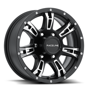 Raceline Wheels 840 Arsenal Trailer 6 Black Machined