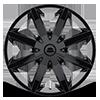 6 LUG KM651 SLIDE GLOSS BLACK W/ CLEAR COAT