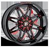 6 LUG 963 GLADIATOR GLOSS BLACK WITH RED MILLING