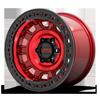 6 LUG KM236 TANK BEADLOCK CANDY RED W/ BLACK RING