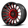 6 LUG MO807 SHOCKWAVE GLOSS BLACK MACHINED W/ RED TINT