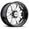 6 LUG MO200 CHROME CENTER W/ GLOSS BLACK MILLED LIP