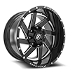 6 LUG XF-205 BLACK MILLED COMPLETE WINDOW - 22X12