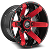5 LUG XF-214 GLOSS BLACK W/ RED INSERTS - 20X12