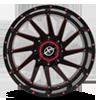 5 LUG XF-216 GLOSS BLACK W/ RED MILLING - 20X10