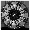 5 LUG XF-218 GLOSS BLACK MILLED - 22X10