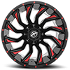5 LUG XF-224 GLOSS BLACK MACHINED RED LINE