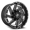 6 LUG XF-205 BLACK MILLED COMPLETE WINDOW - 20X10