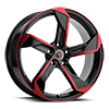 5 LUG R20 BLACK/RED